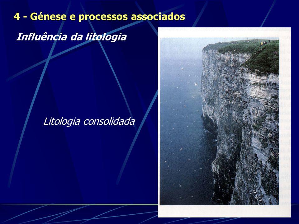 Influência da litologia 4 - Génese e processos associados Litologia consolidada
