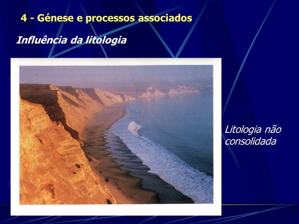Influência da litologia 4 - Génese e processos associados Litologia não consolidada