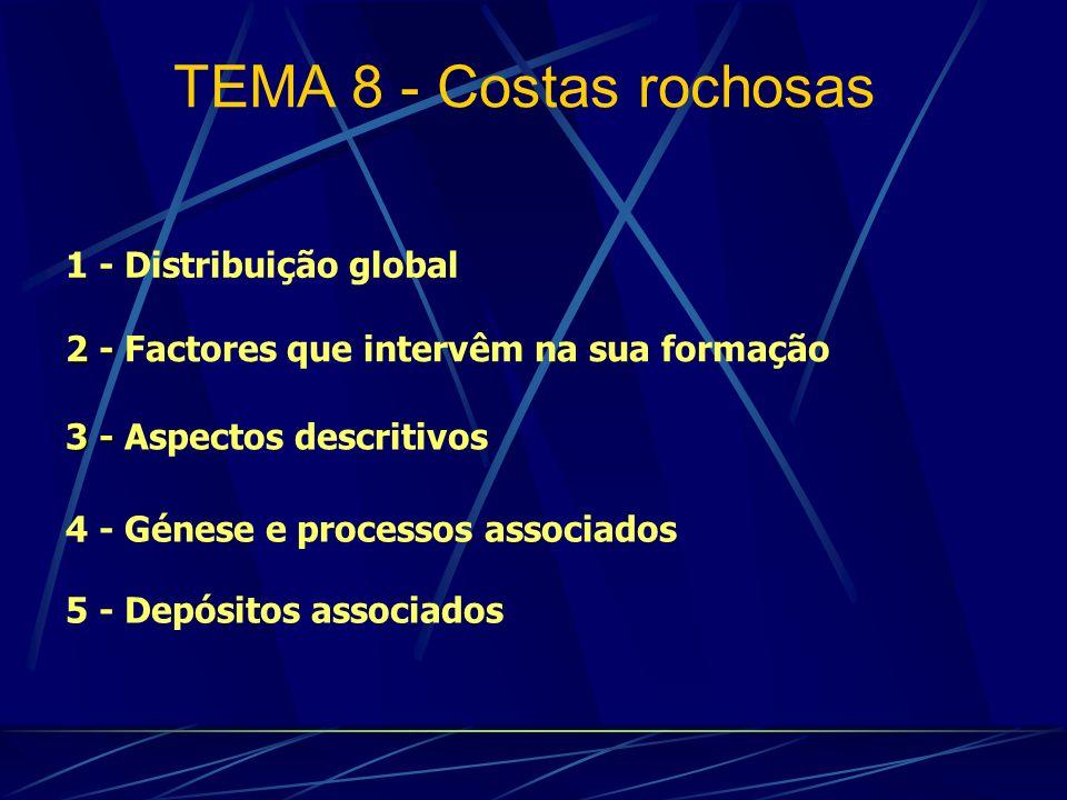 1 - Distribuição global 4 - Génese e processos associados 2 - 2 - Factores que intervêm na sua formação TEMA 8 - Costas rochosas 5 - Depósitos associa