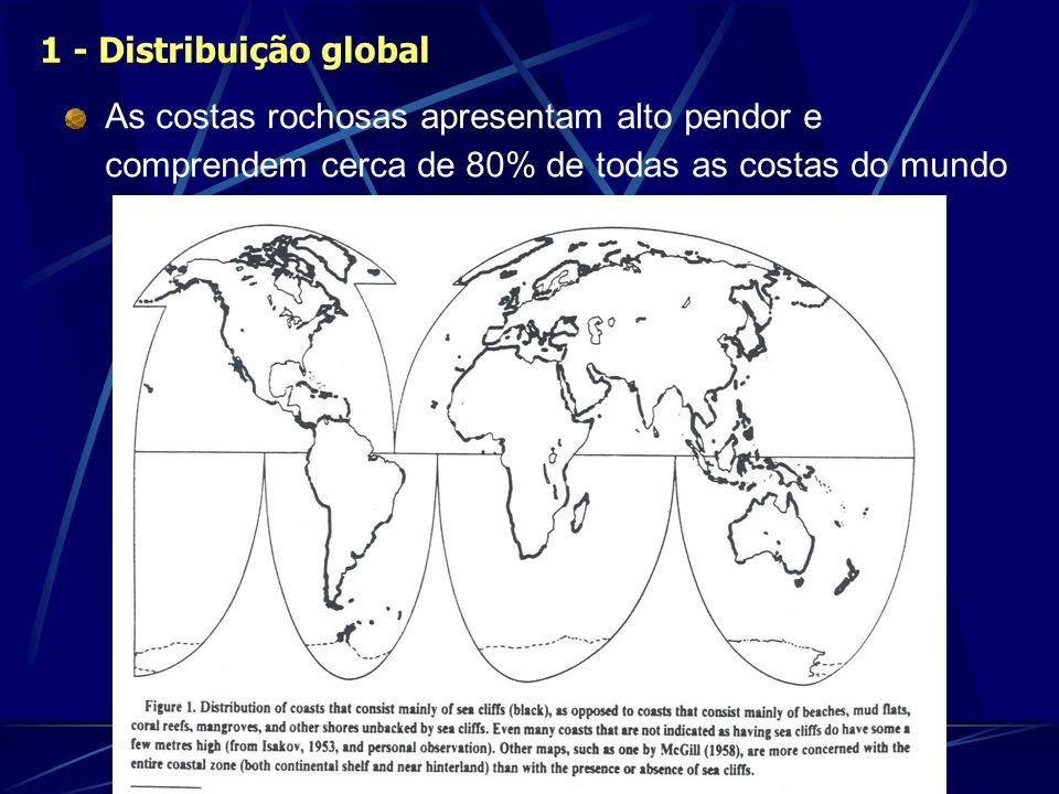 As costas rochosas apresentam alto pendor e comprendem cerca de 80% de todas as costas do mundo 1 - Distribuição global