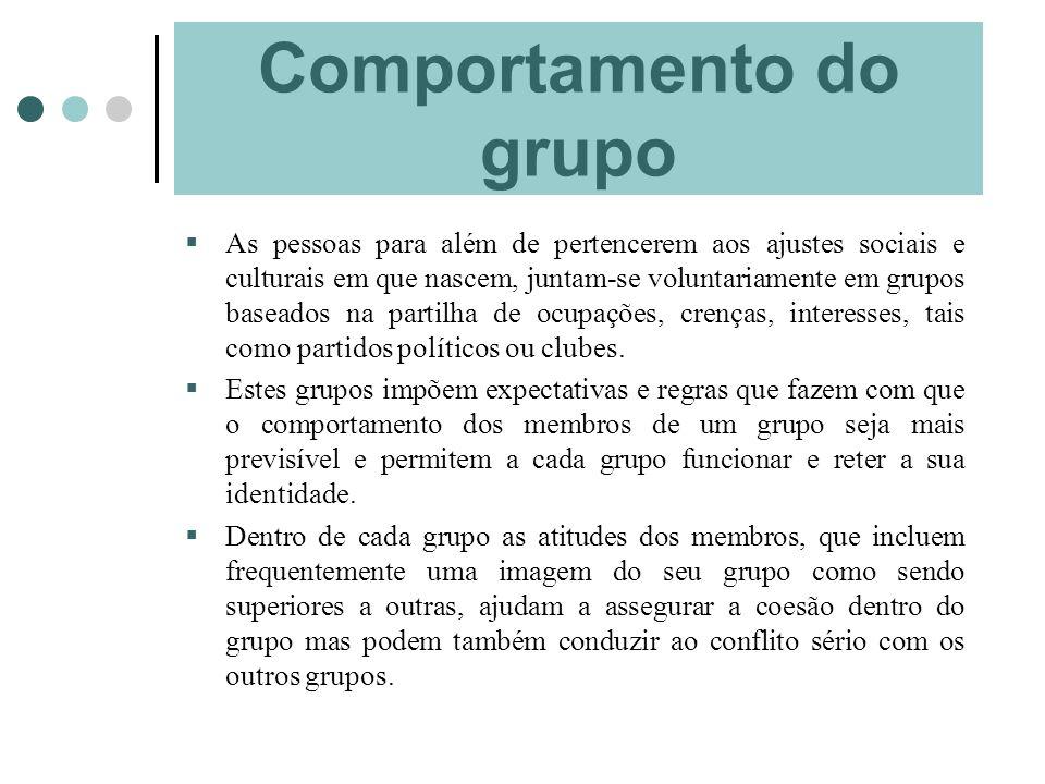 Comportamento do grupo As pessoas para além de pertencerem aos ajustes sociais e culturais em que nascem, juntam-se voluntariamente em grupos baseados
