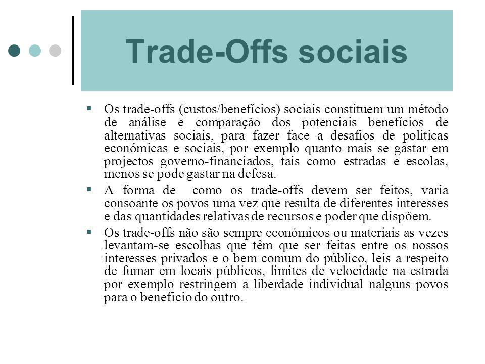 Trade-Offs sociais Os trade-offs (custos/benefícios) sociais constituem um método de análise e comparação dos potenciais benefícios de alternativas so