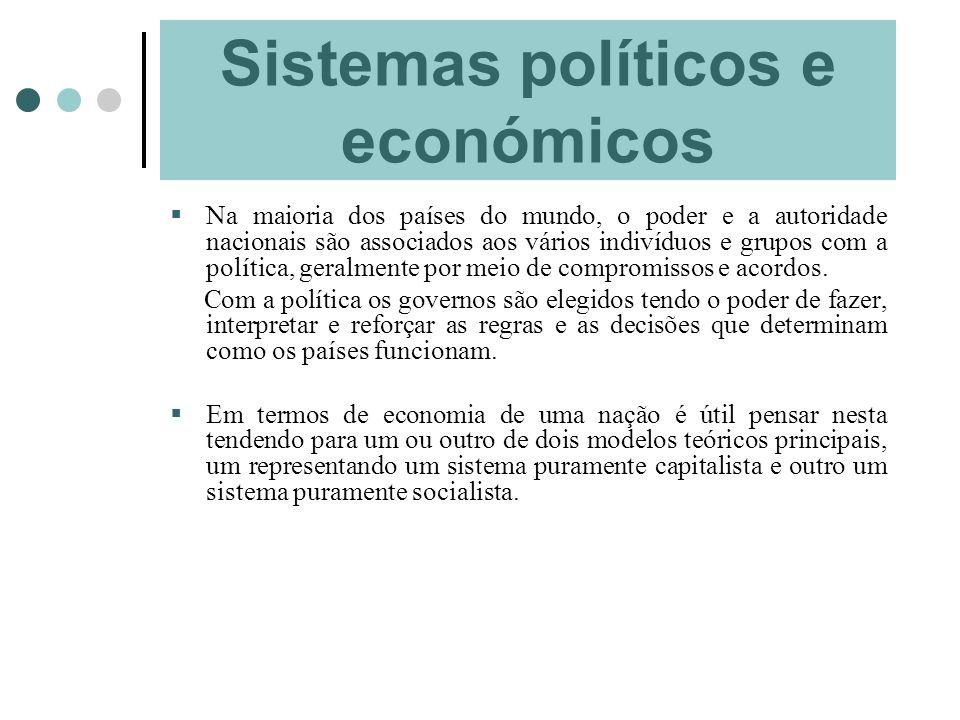 Sistemas políticos e económicos Na maioria dos países do mundo, o poder e a autoridade nacionais são associados aos vários indivíduos e grupos com a p
