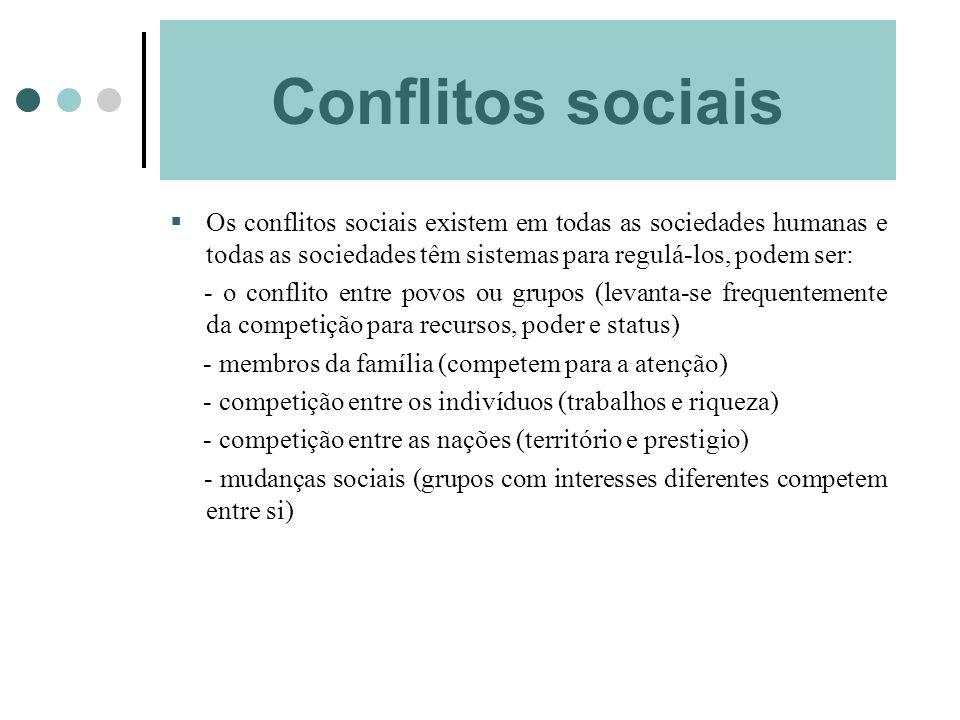 Conflitos sociais Os conflitos sociais existem em todas as sociedades humanas e todas as sociedades têm sistemas para regulá-los, podem ser: - o confl