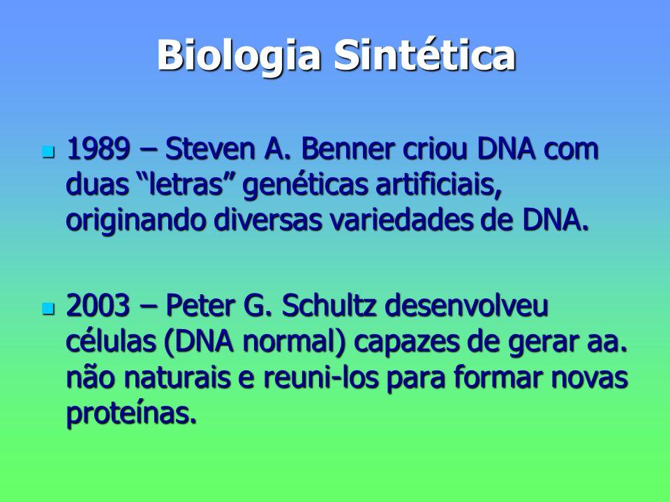 Biologia Sintética 1989 – Steven A. Benner criou DNA com duas letras genéticas artificiais, originando diversas variedades de DNA. 1989 – Steven A. Be