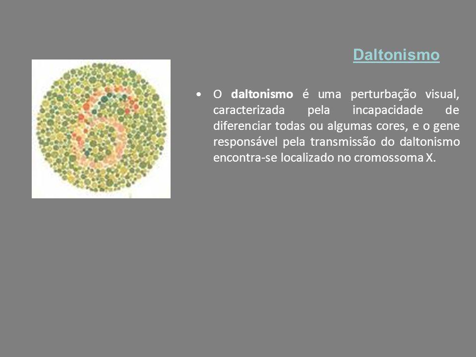 O daltonismo é uma perturbação visual, caracterizada pela incapacidade de diferenciar todas ou algumas cores, e o gene responsável pela transmissão do