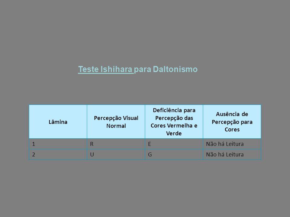 Teste Ishihara para Daltonismo Lâmina Percepção Visual Normal Deficiência para Percepção das Cores Vermelha e Verde Ausência de Percepção para Cores 1