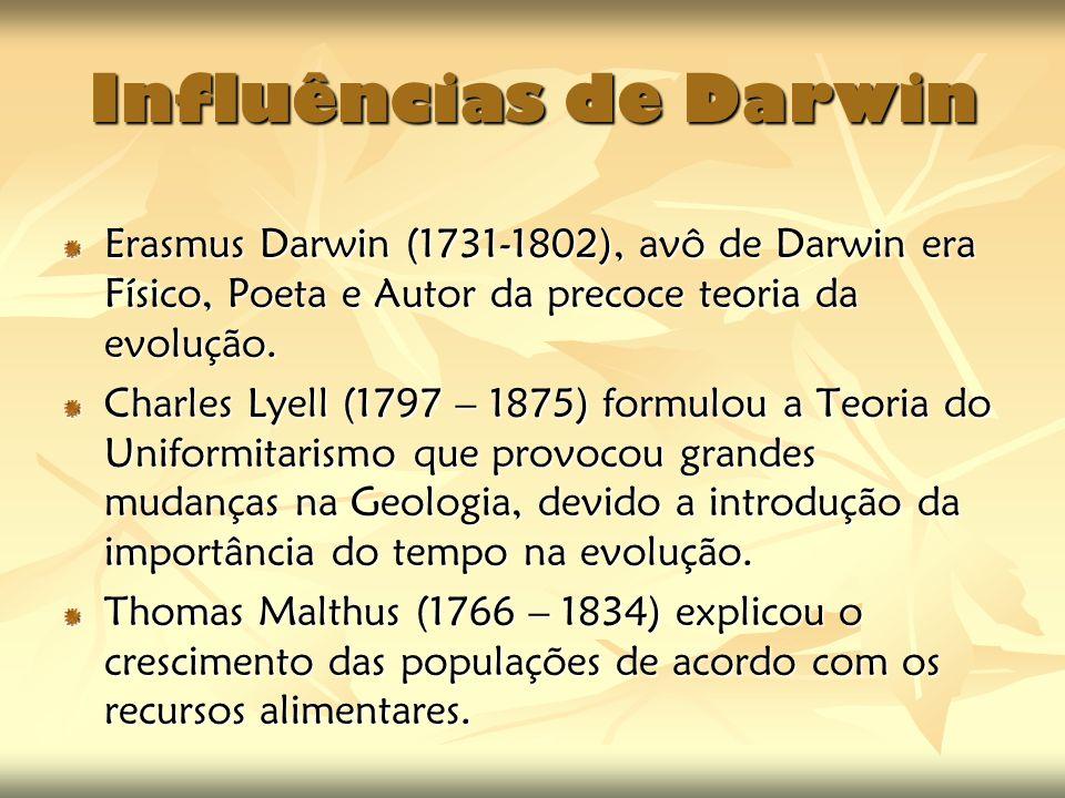 Influências de Darwin Erasmus Darwin (1731-1802), avô de Darwin era Físico, Poeta e Autor da precoce teoria da evolução. Charles Lyell (1797 – 1875) f