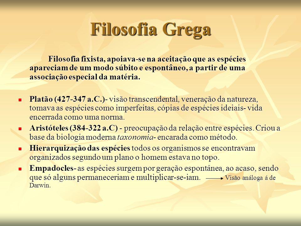 Filosofia Grega Filosofia fixista, apoiava-se na aceitação que as espécies apareciam de um modo súbito e espontâneo, a partir de uma associação especi