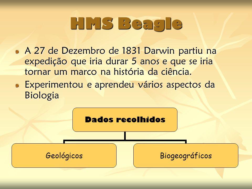 HMS Beagle A 27 de Dezembro de 1831 Darwin partiu na expedição que iria durar 5 anos e que se iria tornar um marco na história da ciência. Experimento