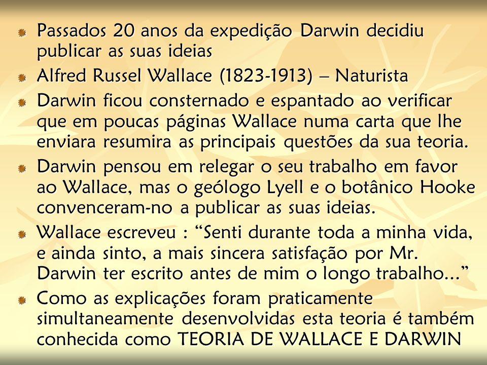 Passados 20 anos da expedição Darwin decidiu publicar as suas ideias Alfred Russel Wallace (1823-1913) – Naturista Darwin ficou consternado e espantad