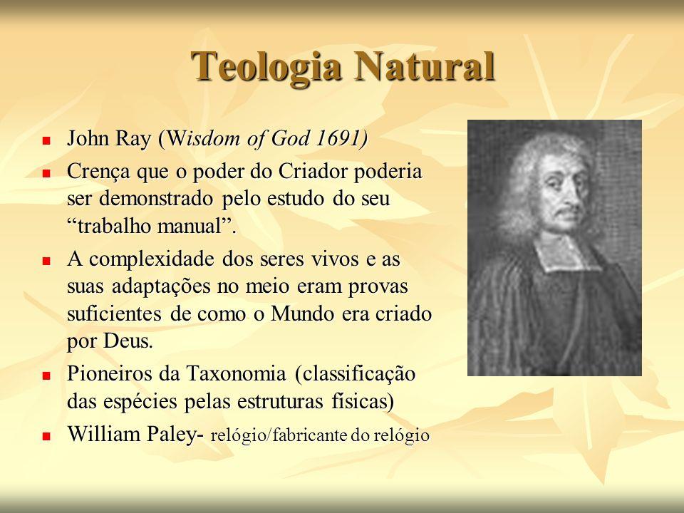 Teologia Natural John Ray (Wisdom of God 1691) John Ray (Wisdom of God 1691) Crença que o poder do Criador poderia ser demonstrado pelo estudo do seu