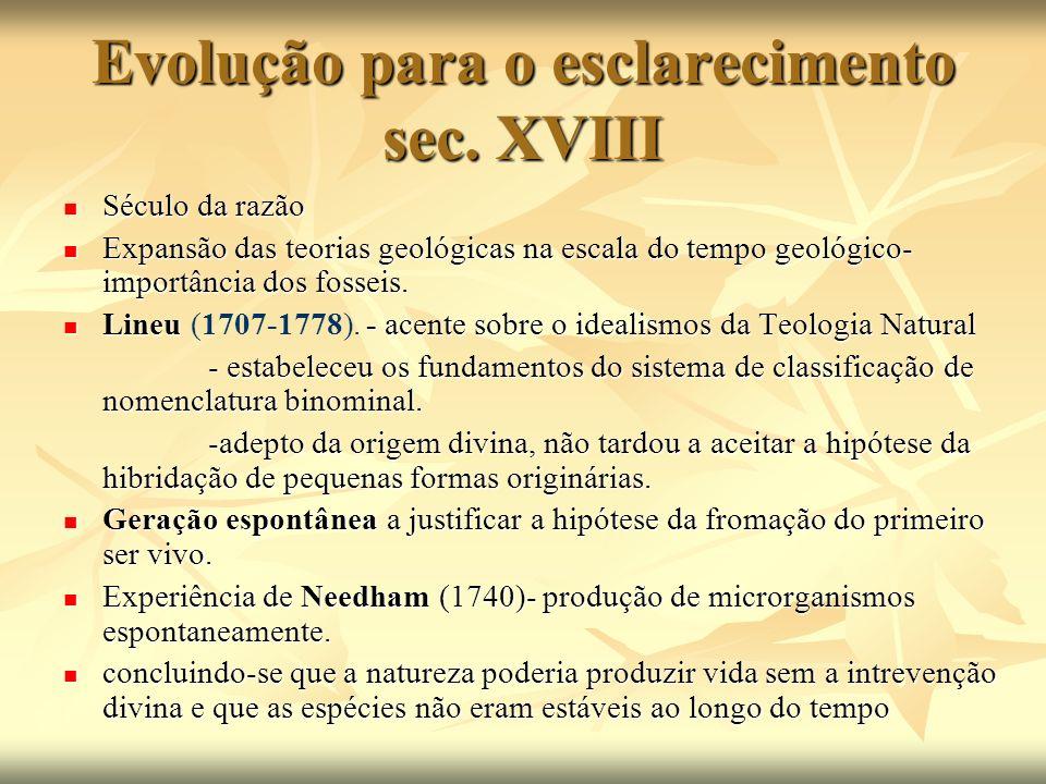 Evolução para o esclarecimento sec. XVIII Século da razão Século da razão Expansão das teorias geológicas na escala do tempo geológico- importância do