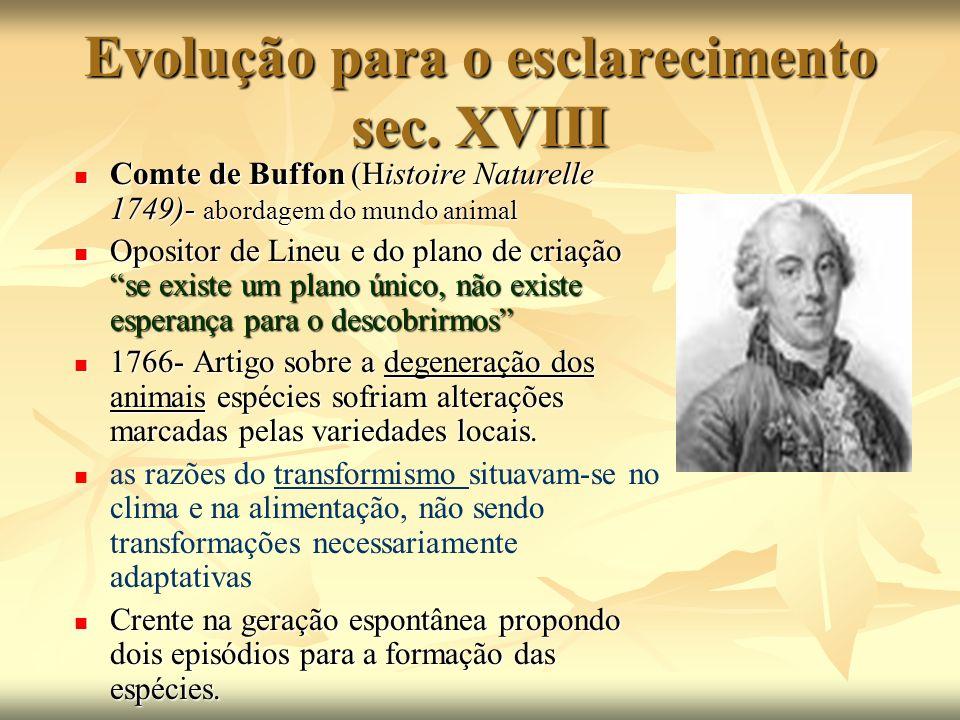 Evolução para o esclarecimento sec. XVIII Comte de Buffon (Histoire Naturelle 1749)- abordagem do mundo animal Comte de Buffon (Histoire Naturelle 174