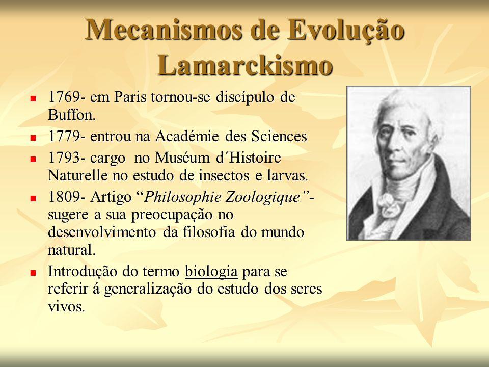 Mecanismos de Evolução Lamarckismo 1769- em Paris tornou-se discípulo de Buffon. 1769- em Paris tornou-se discípulo de Buffon. 1779- entrou na Académi