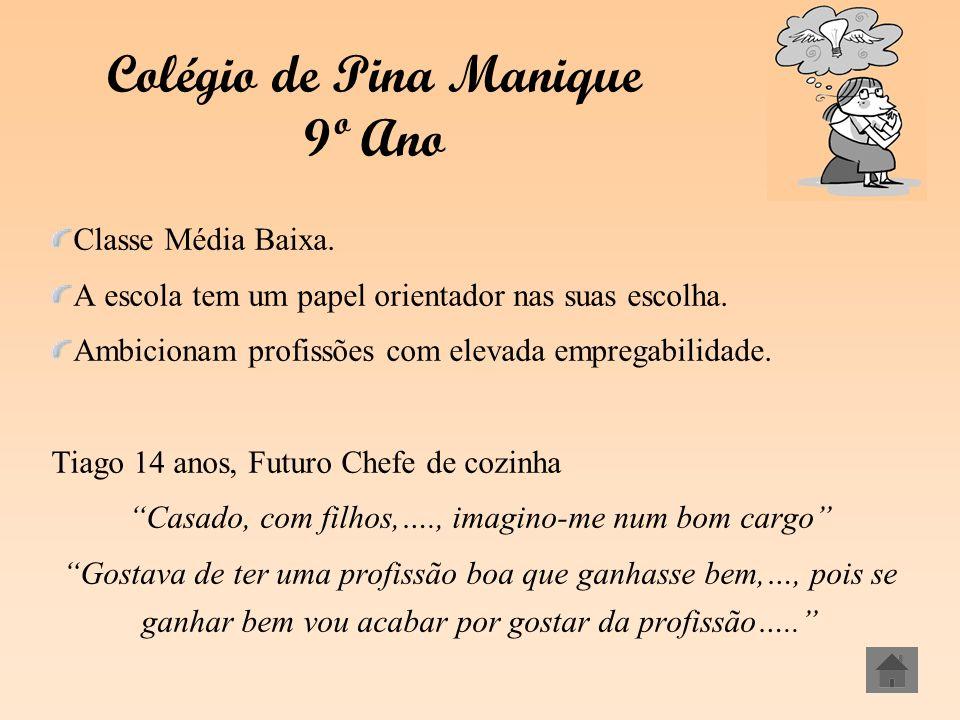 Colégio de Pina Manique 9º Ano Classe Média Baixa. A escola tem um papel orientador nas suas escolha. Ambicionam profissões com elevada empregabilidad