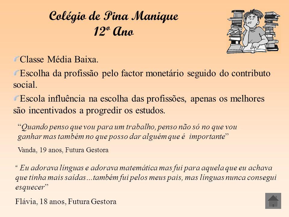 Colégio de Pina Manique 12º Ano Classe Média Baixa. Escolha da profissão pelo factor monetário seguido do contributo social. Escola influência na esco