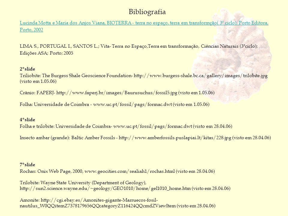 Bibliografia Lucinda Motta e Maria dos Anjos Viana, BIOTERRA - terra no espaço, terra em transformção( 3º ciclo), Porto Editora, Porto, 2002 LIMA S.,