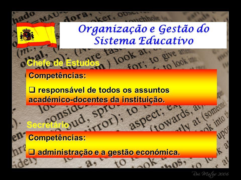 Competências: responsável de todos os assuntos académico-docentes da instituição.