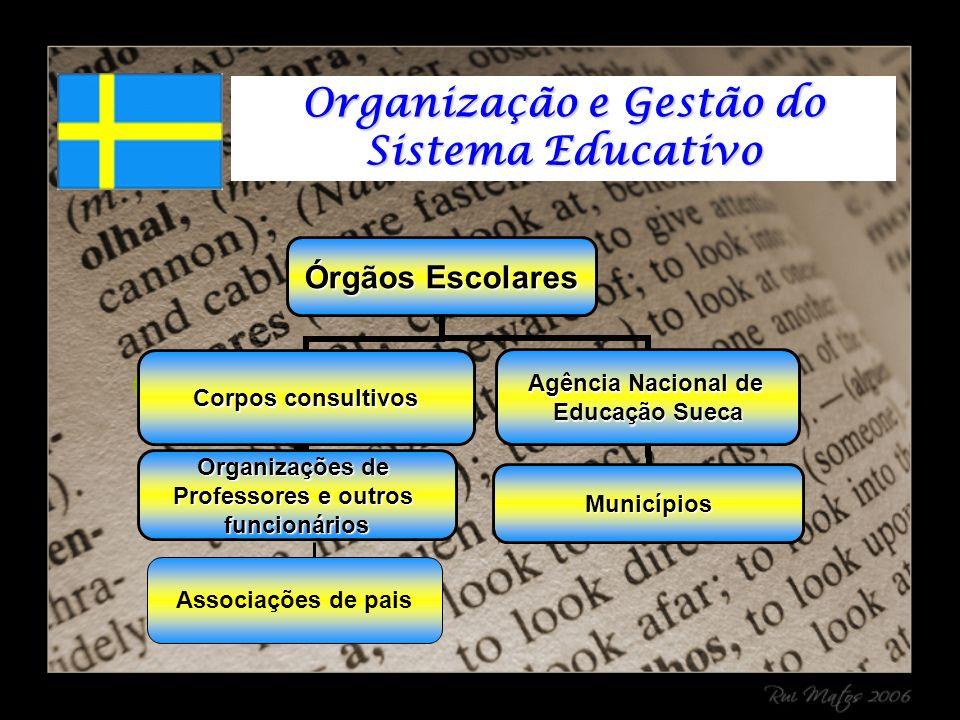 Órgãos Escolares Corpos consultivos Organizações de Professores e outros funcionários Agência Nacional de Educação Sueca Municípios Associações de pais Organização e Gestão do Sistema Educativo