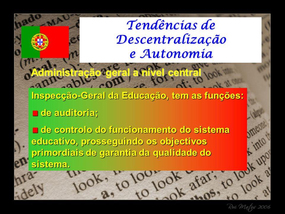 Inspecção-Geral da Educação, tem as funções: de auditoria; de auditoria; de controlo do funcionamento do sistema educativo, prosseguindo os objectivos primordiais de garantia da qualidade do sistema.