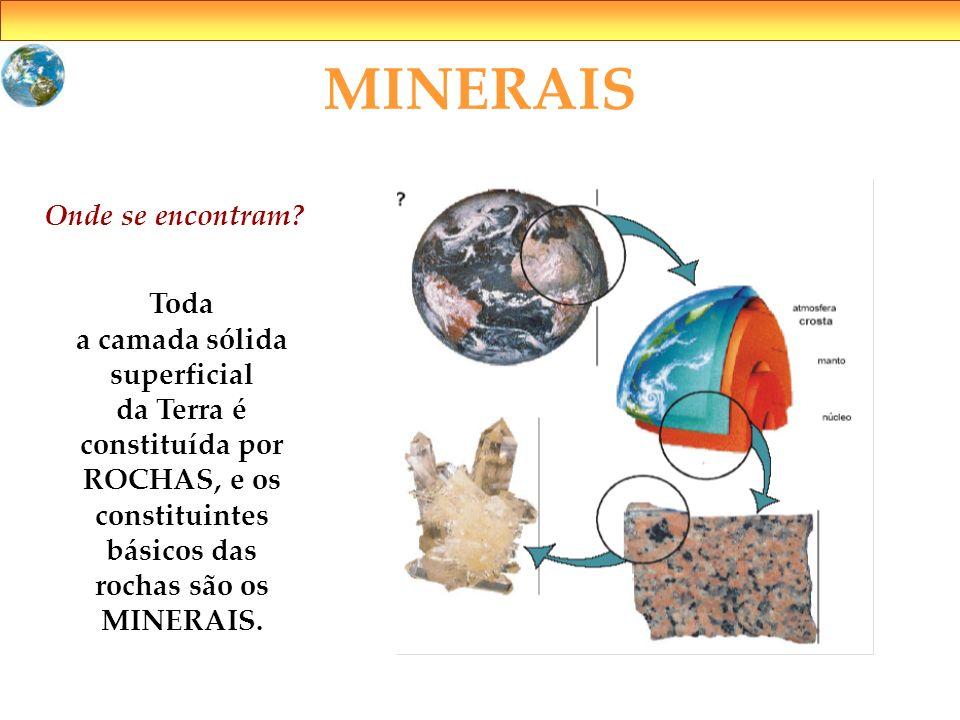 MINERAIS Onde se encontram? Toda a camada sólida superficial da Terra é constituída por ROCHAS, e os constituintes básicos das rochas são os MINERAIS.