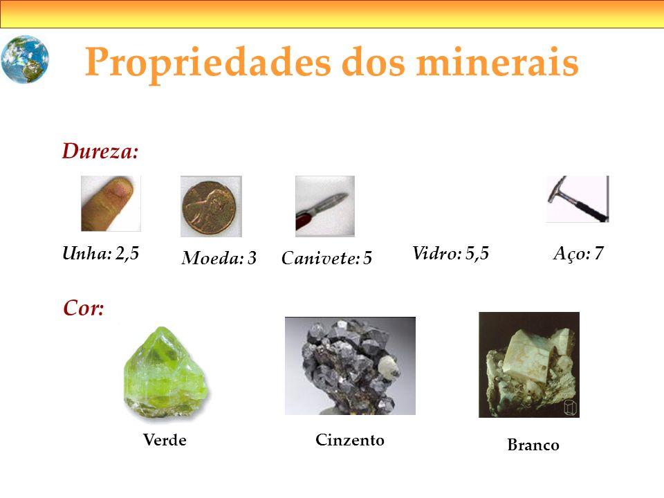 Propriedades dos minerais Dureza: Unha: 2,5 Moeda: 3Canivete: 5 Vidro: 5,5Aço: 7 Cor: VerdeCinzento Branco