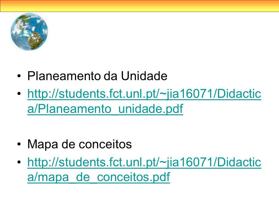 Planeamento da Unidade http://students.fct.unl.pt/~jia16071/Didactic a/Planeamento_unidade.pdfhttp://students.fct.unl.pt/~jia16071/Didactic a/Planeame