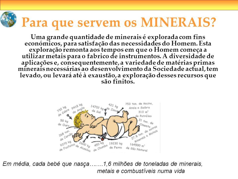 Para que servem os MINERAIS? Uma grande quantidade de minerais é explorada com fins económicos, para satisfação das necessidades do Homem. Esta explor