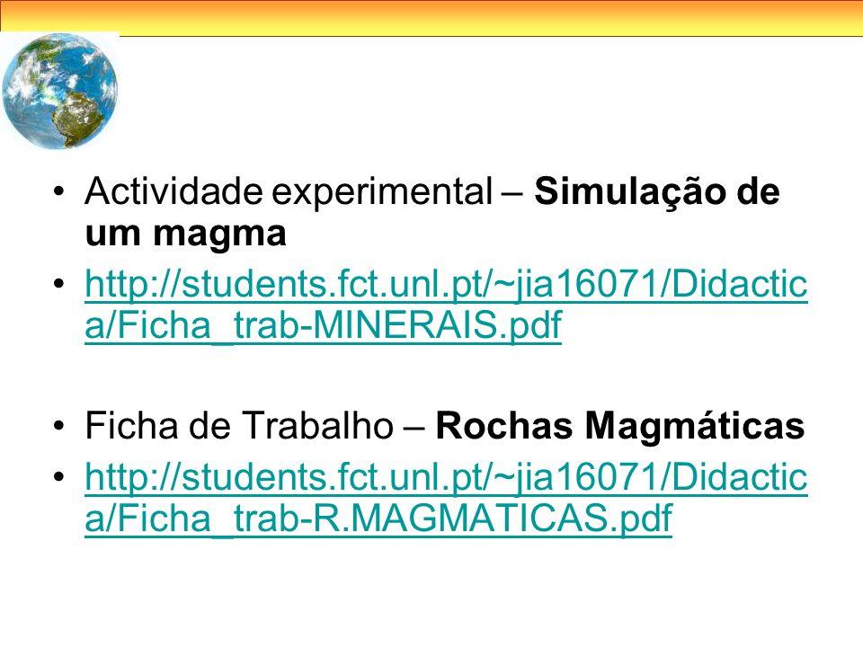Actividade experimental – Simulação de um magma http://students.fct.unl.pt/~jia16071/Didactic a/Ficha_trab-MINERAIS.pdfhttp://students.fct.unl.pt/~jia