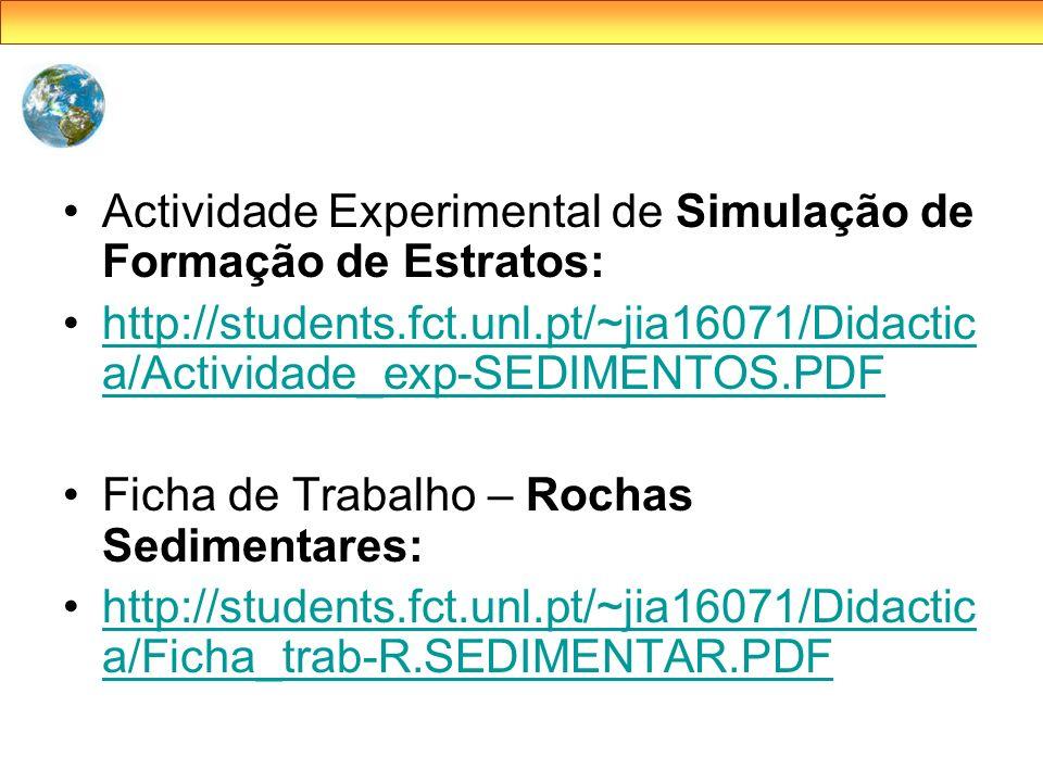Actividade Experimental de Simulação de Formação de Estratos: http://students.fct.unl.pt/~jia16071/Didactic a/Actividade_exp-SEDIMENTOS.PDFhttp://stud