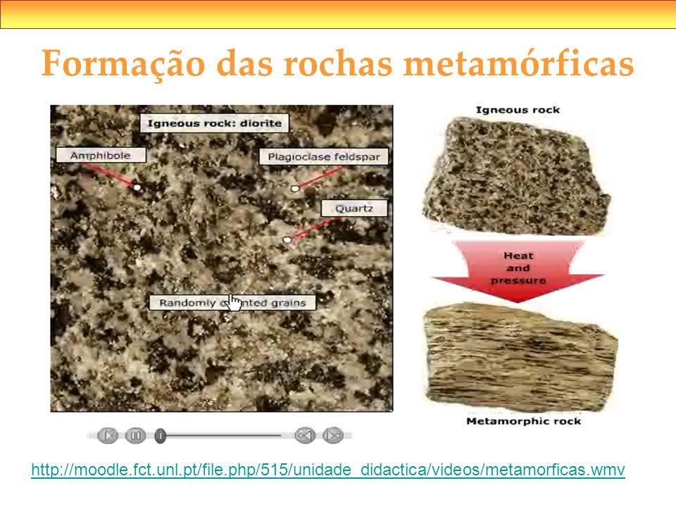 Formação das rochas metamórficas http://moodle.fct.unl.pt/file.php/515/unidade_didactica/videos/metamorficas.wmv