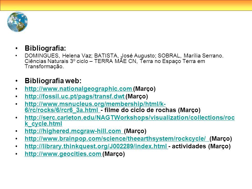 Bibliografia: DOMINGUES, Helena Vaz; BATISTA, José Augusto; SOBRAL, Marília Serrano. Ciências Naturais 3º ciclo – TERRA MÃE CN, Terra no Espaço Terra