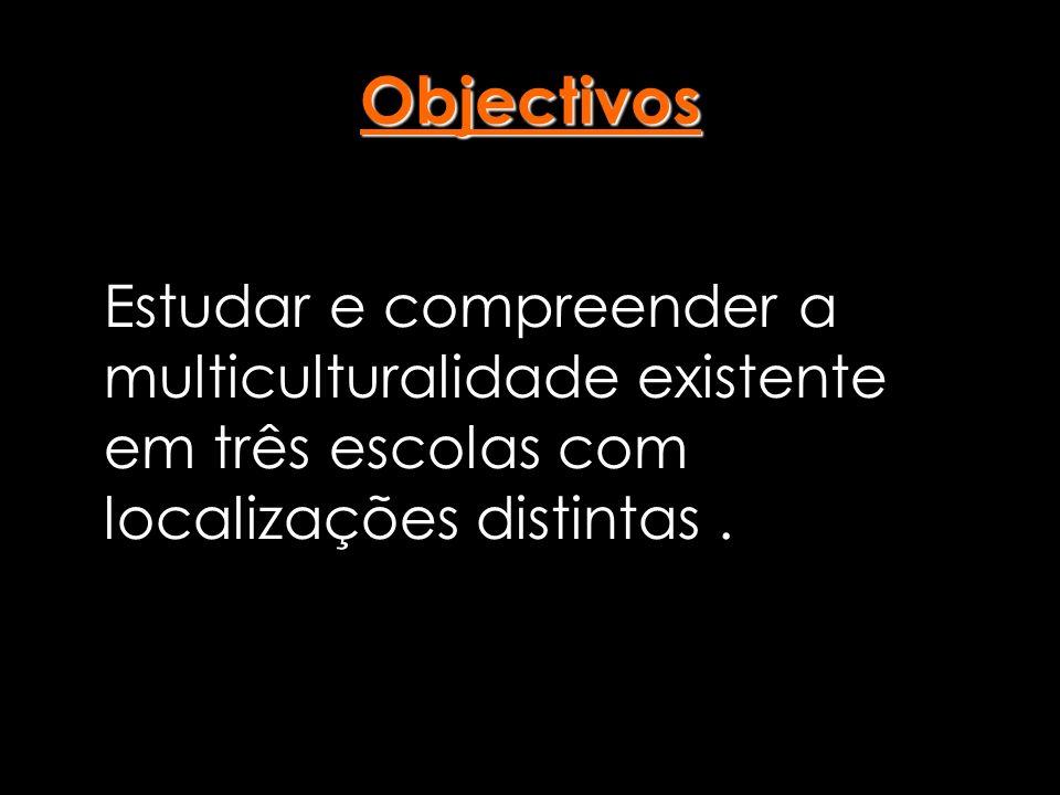 Objectivos Estudar e compreender a multiculturalidade existente em três escolas com localizações distintas.
