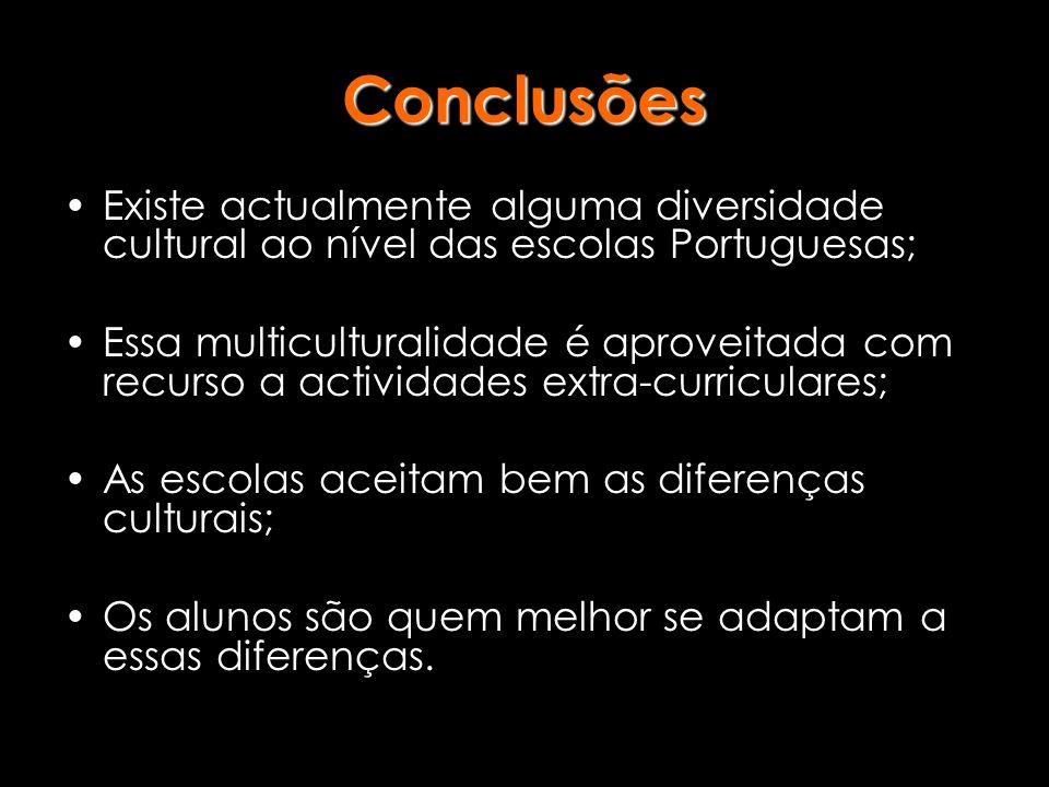 Existe actualmente alguma diversidade cultural ao nível das escolas Portuguesas; Essa multiculturalidade é aproveitada com recurso a actividades extra