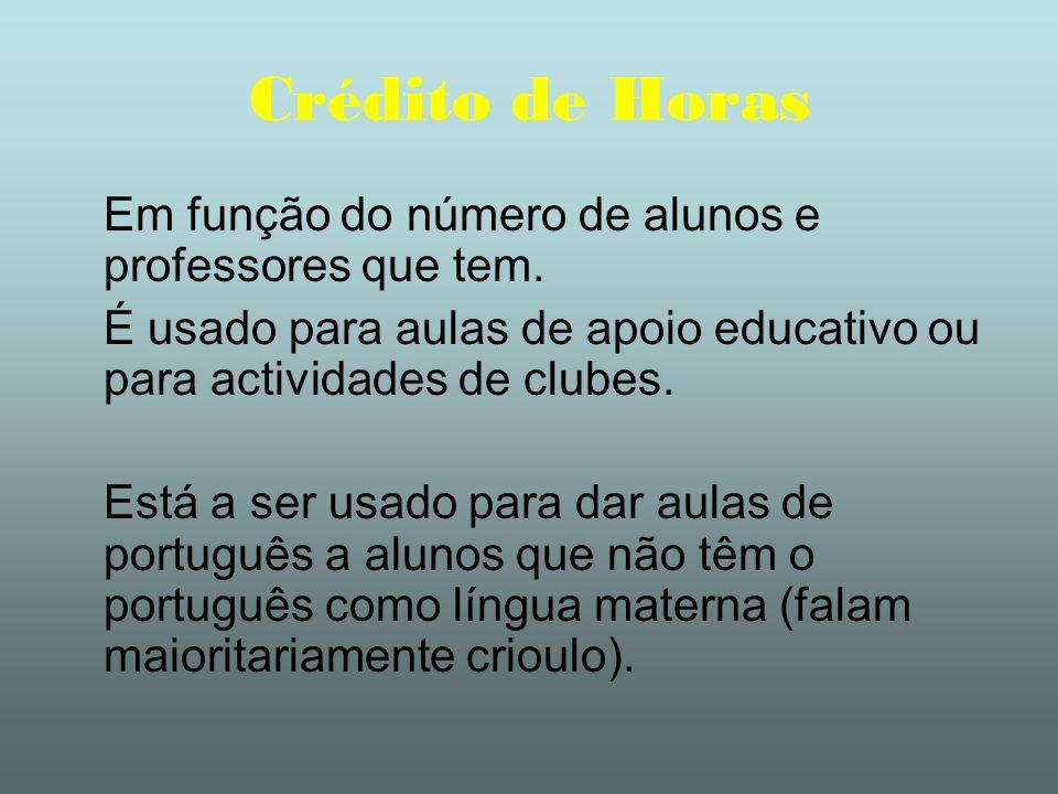 Crédito de Horas Em função do número de alunos e professores que tem. É usado para aulas de apoio educativo ou para actividades de clubes. Está a ser