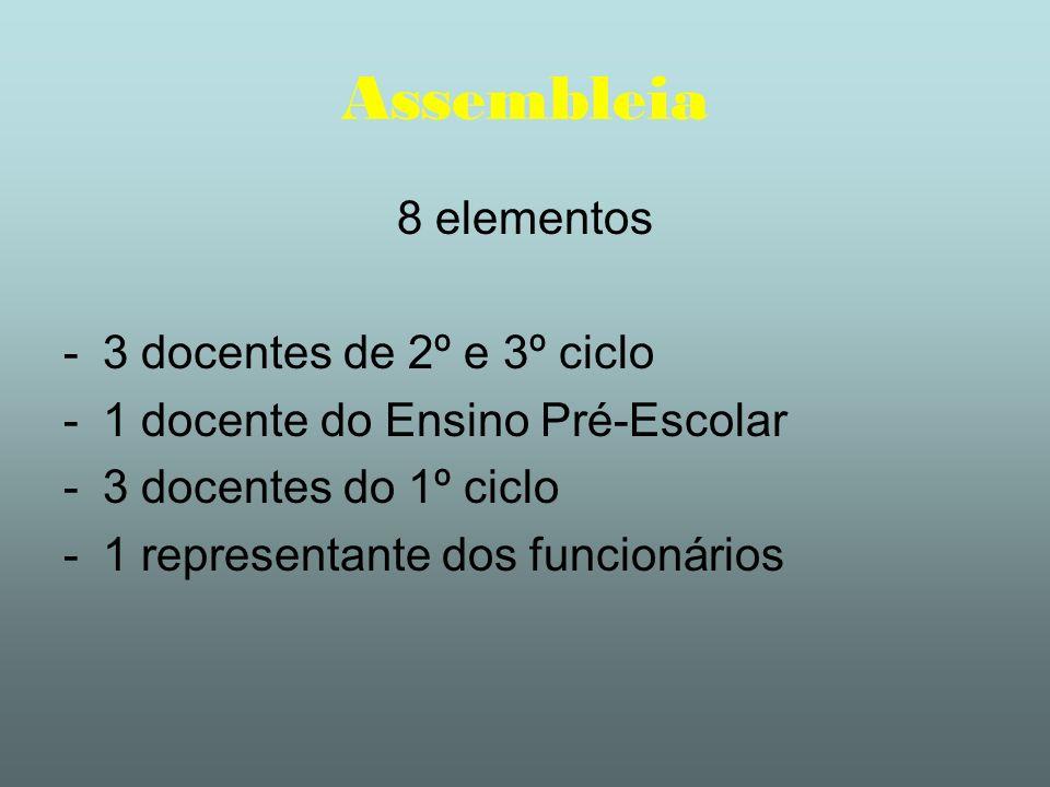 Assembleia 8 elementos -3 docentes de 2º e 3º ciclo -1 docente do Ensino Pré-Escolar -3 docentes do 1º ciclo -1 representante dos funcionários