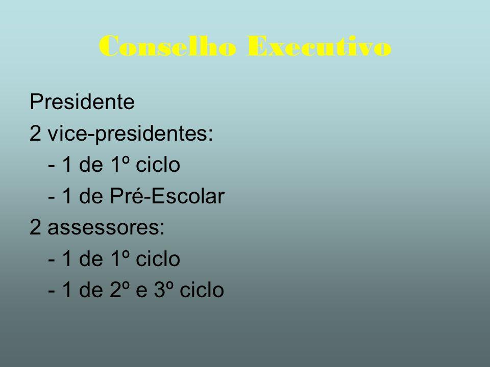 Conselho Executivo Presidente 2 vice-presidentes: - 1 de 1º ciclo - 1 de Pré-Escolar 2 assessores: - 1 de 1º ciclo - 1 de 2º e 3º ciclo