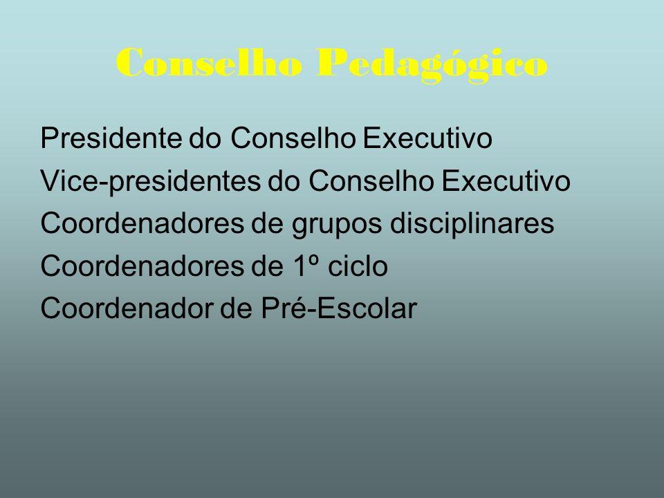 Conselho Pedagógico Presidente do Conselho Executivo Vice-presidentes do Conselho Executivo Coordenadores de grupos disciplinares Coordenadores de 1º
