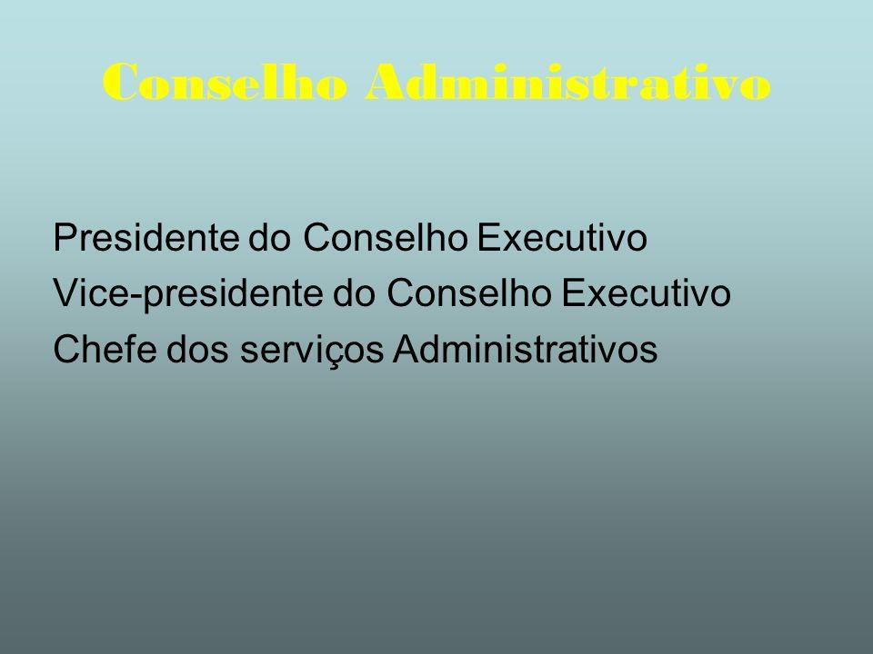 Conselho Administrativo Presidente do Conselho Executivo Vice-presidente do Conselho Executivo Chefe dos serviços Administrativos