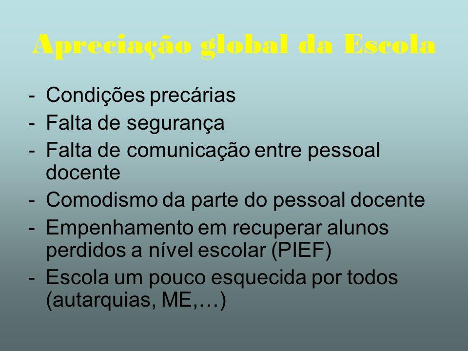 Apreciação global da Escola -Condições precárias -Falta de segurança -Falta de comunicação entre pessoal docente -Comodismo da parte do pessoal docent