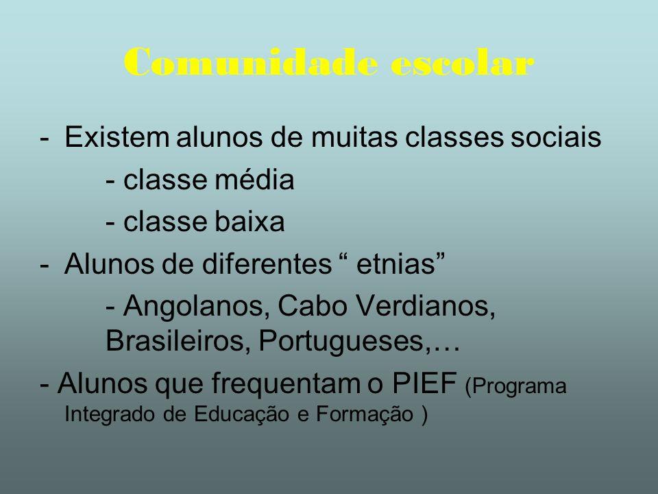 Comunidade escolar -Existem alunos de muitas classes sociais - classe média - classe baixa -Alunos de diferentes etnias - Angolanos, Cabo Verdianos, B