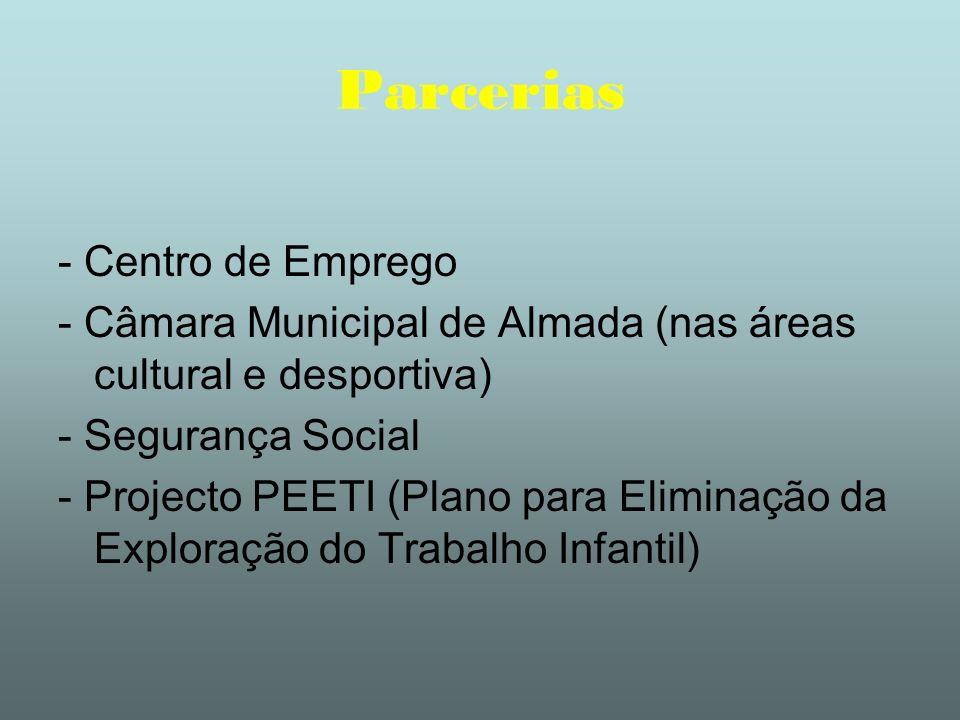 Parcerias - Centro de Emprego - Câmara Municipal de Almada (nas áreas cultural e desportiva) - Segurança Social - Projecto PEETI (Plano para Eliminaçã