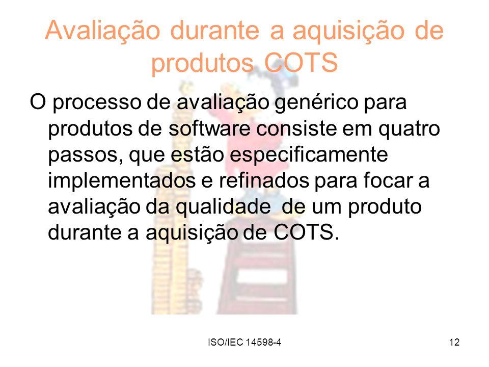 ISO/IEC 14598-412 Avaliação durante a aquisição de produtos COTS O processo de avaliação genérico para produtos de software consiste em quatro passos,