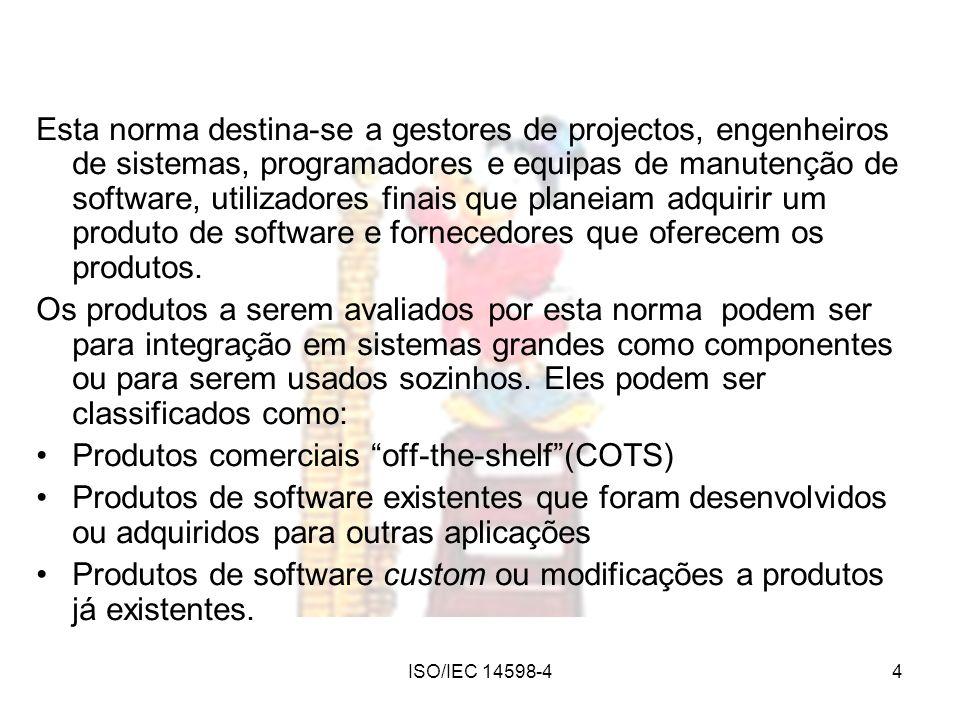 ISO/IEC 14598-44 Esta norma destina-se a gestores de projectos, engenheiros de sistemas, programadores e equipas de manutenção de software, utilizador