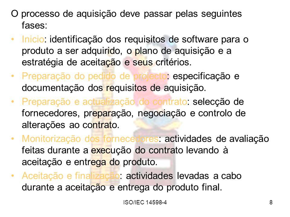 ISO/IEC 14598-48 O processo de aquisição deve passar pelas seguintes fases: Inicio: identificação dos requisitos de software para o produto a ser adqu