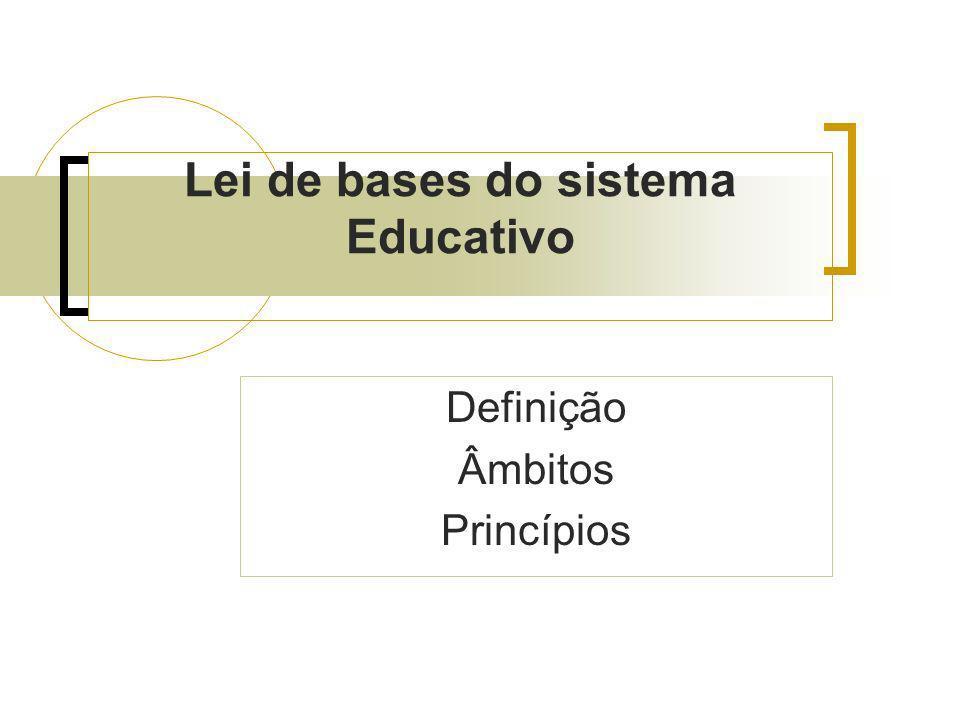 Lei de bases do sistema Educativo Definição Âmbitos Princípios