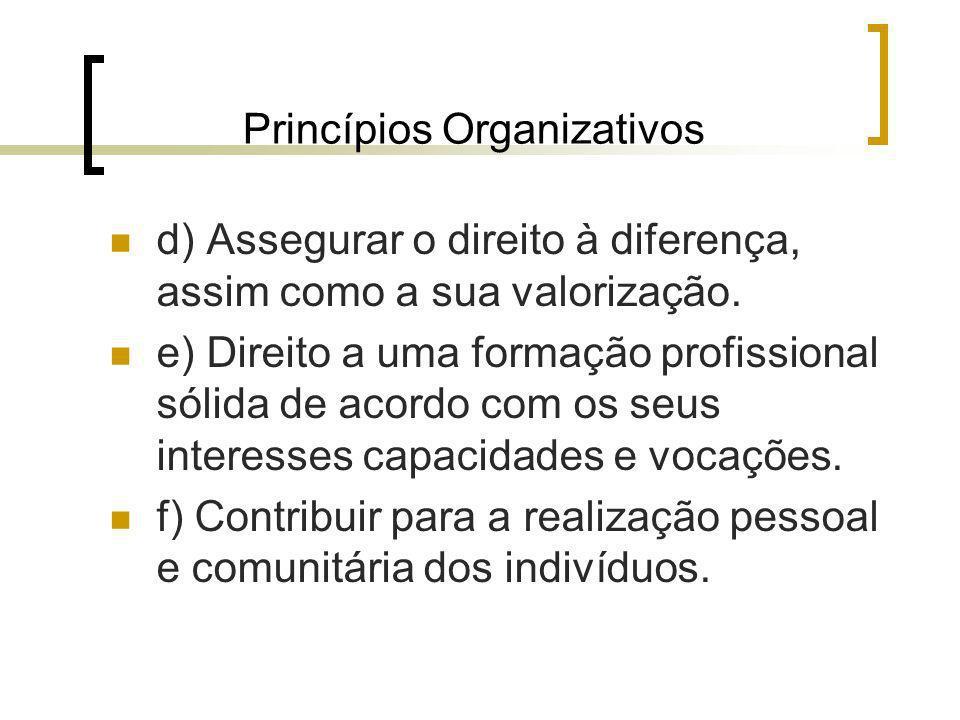 Princípios Organizativos d) Assegurar o direito à diferença, assim como a sua valorização. e) Direito a uma formação profissional sólida de acordo com