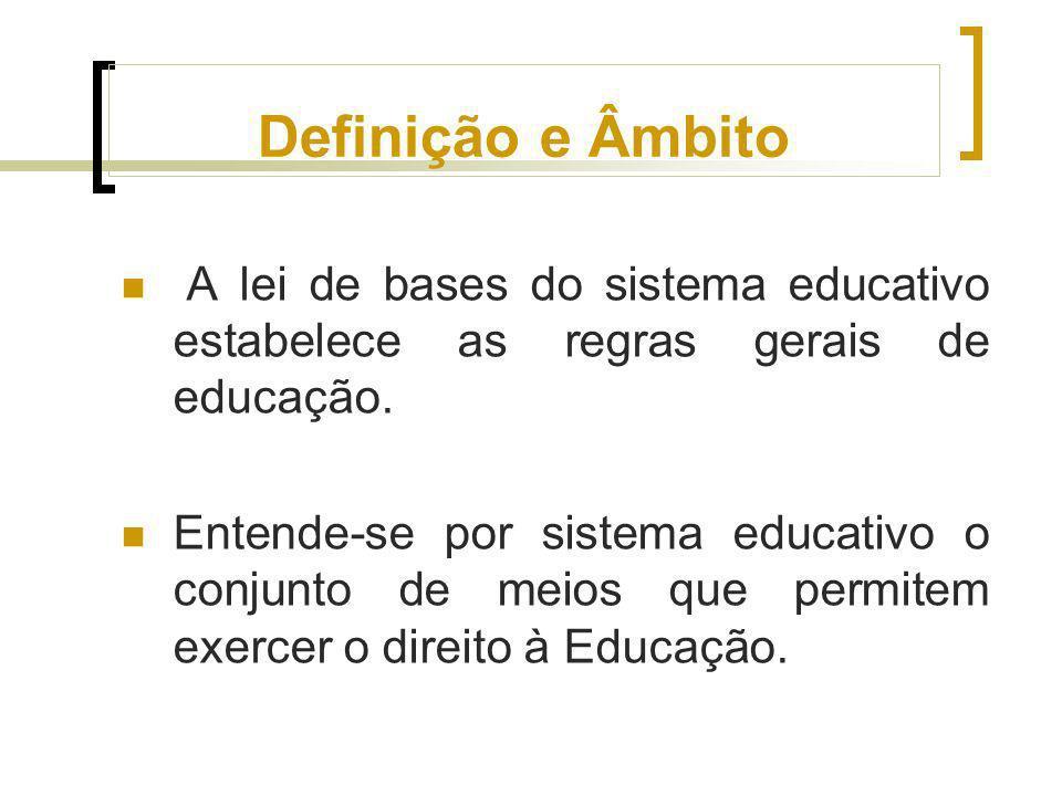 Definição e Âmbito A lei de bases do sistema educativo estabelece as regras gerais de educação. Entende-se por sistema educativo o conjunto de meios q