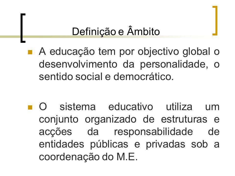 Definição e Âmbito A educação tem por objectivo global o desenvolvimento da personalidade, o sentido social e democrático. O sistema educativo utiliza